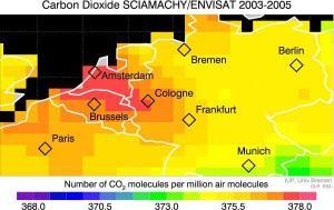 Koldioxidutsläpp över västra Europa