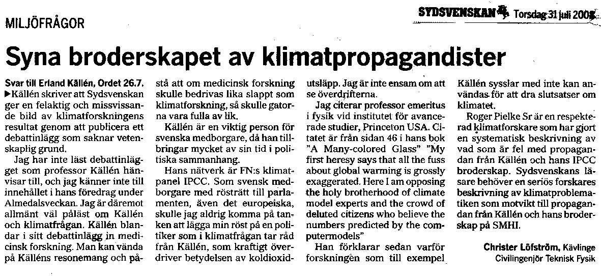 Christer Löfström kritiserar Erland Källén i SDS