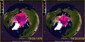 Arctic sea ice in 1979 and 2008