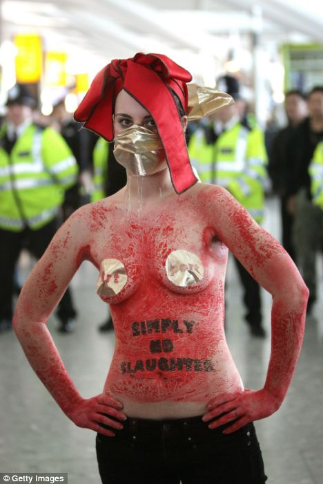 Halfnaked activist at Heathrow airport