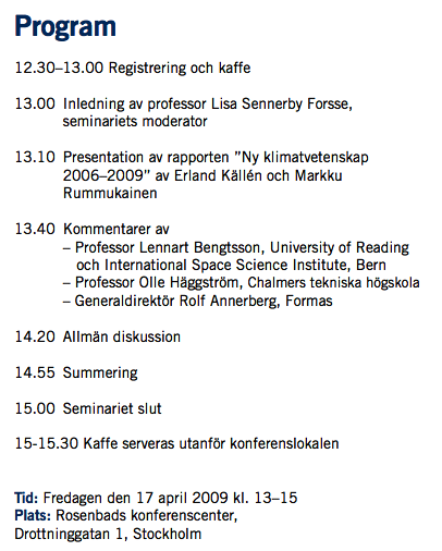 Klimatseminarium 17 april 2009