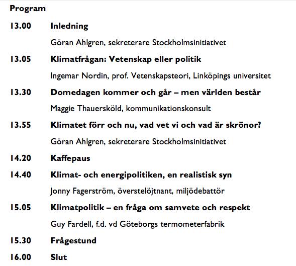 Stockholmsinitiativets klimatseminarium