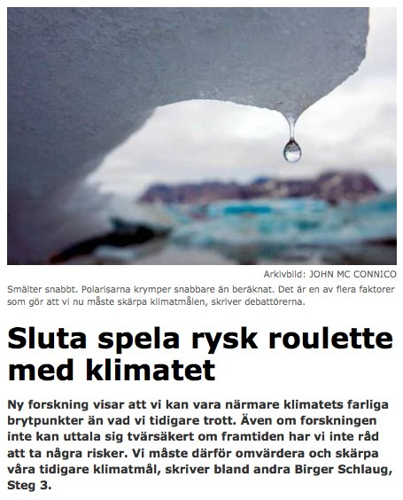 Sluta spela rysk roulette med klimatet - Debatt - www.gp.se