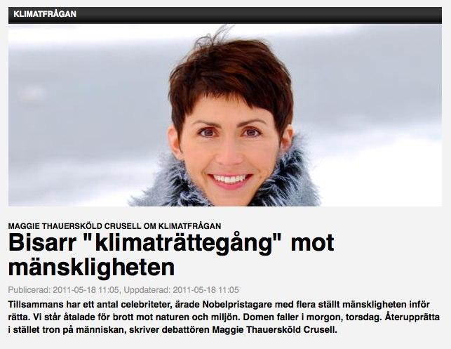 Bisarr _klimaträttegång_ mot mänskligheten - Artikel av Maggie Thauersköld Crusell - Newsmill