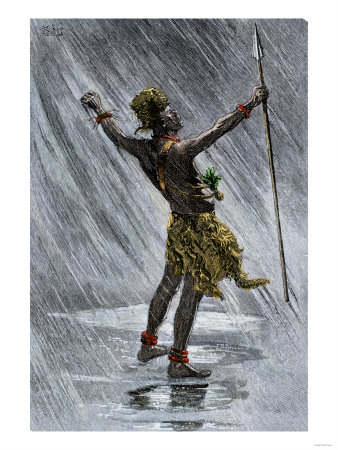 african native shaman invoking rain in the valley of the congo 1800s