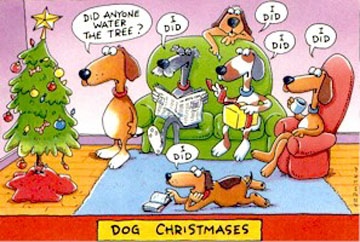 dog christmas cartoon
