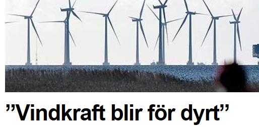 Vindkraft för dyrt