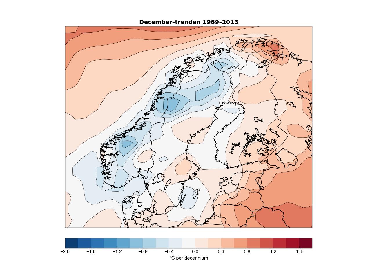 Trenden för decembertemperaturen under de senaste 25-åren. (Data från ECMWF).