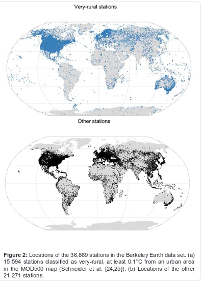 "Figur 2 från artikeln ""Influence of Urban Heating  on the Global Temperature  Land Average using Rural  Sites Identified from MODIS  ClassificationsInfluence of Urban Heating  on the Global Temperature  Land Average using Rural  Sites Identified from MODIS  Classifications"""