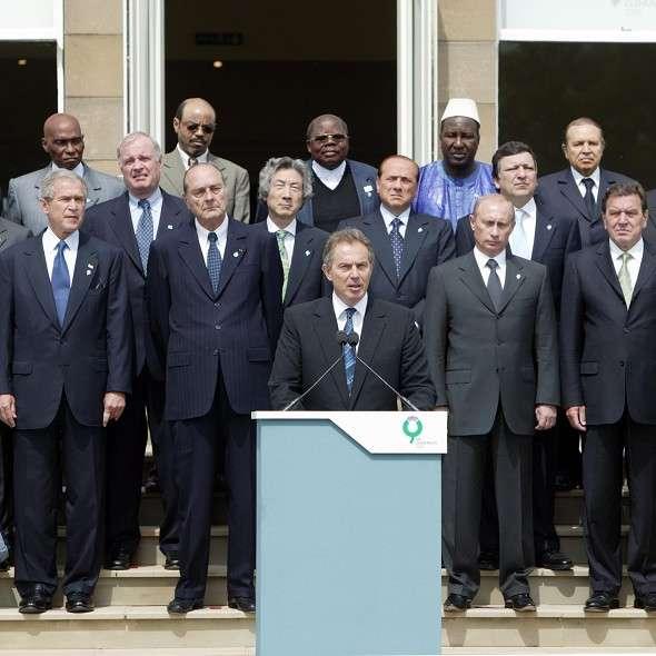 Tony Blair och världsledarna under G8 i Gleneagles 2005