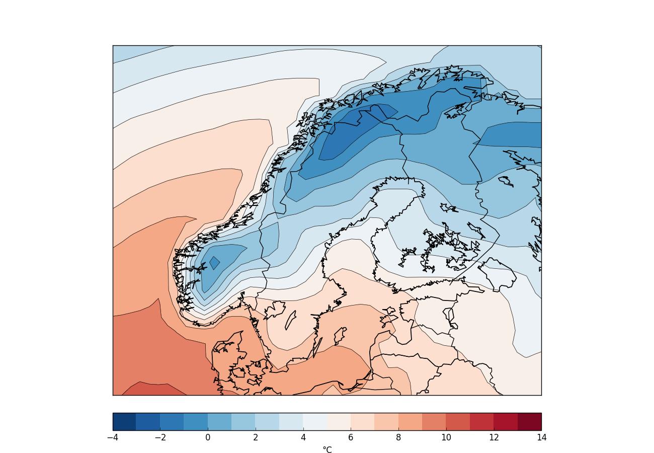 Årsmedeltemperaturen för Norden. Datat kommer från ECMWF ERA-Interim.