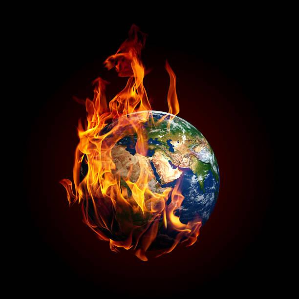 Plane Earth burning isolated on black background